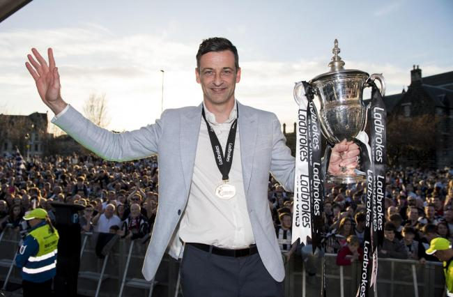 Jack Ross celebrates during St Mirren's title party. Hibs will be hoping he can repeat the success he had there at Easter Road