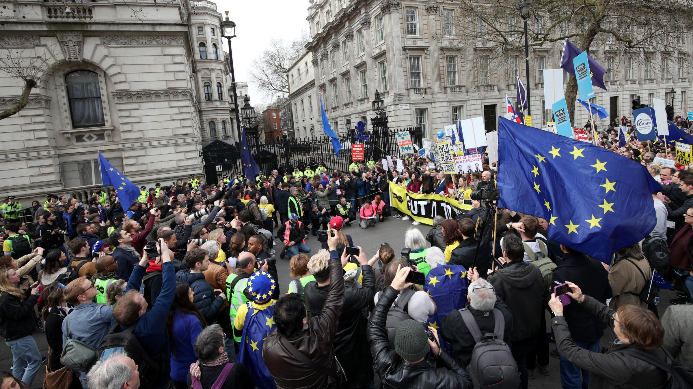 Anti-Brexit campaigners gathering outside Downing Street as they take part in the People's Vote March in London. Photograph: Yui Mok/PA Wire.