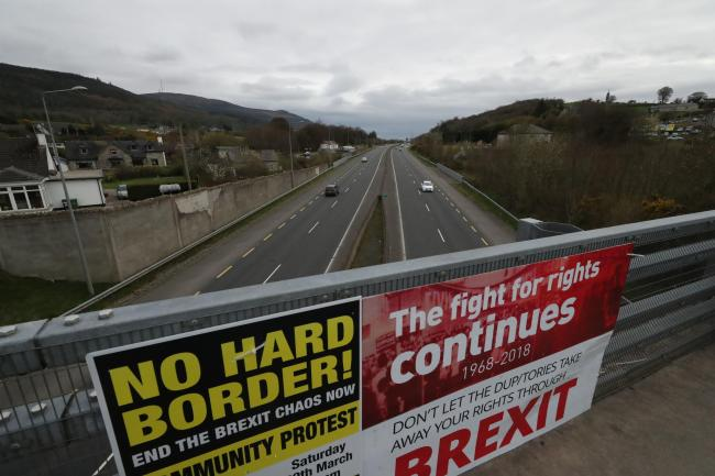 A Border Communities Against Brexit protest on Old Belfast Road in Carrickcarnon on the northern side of the Irish border, between Newry and Dundalk.