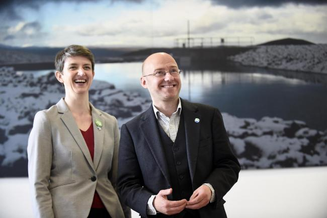 FREE USE PICTURE..Scottish Greens co-convenors Patrick Harvie and Maggie Chapman (pictured) during a visit to Fife College in Rosyth to see the future of renewable energy as students develop the technical skills needed for Scotland�s renewables in