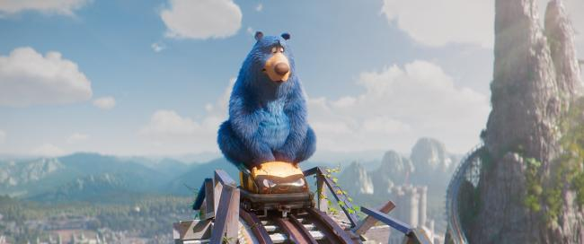 Wonder Park with Boomer the blue bear (voiced by Tom Baker)
