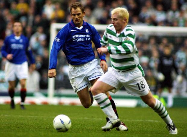 HeraldScotland: Ronald De Boer closes down Neil Lennon during an Old Firm game in December, 2002