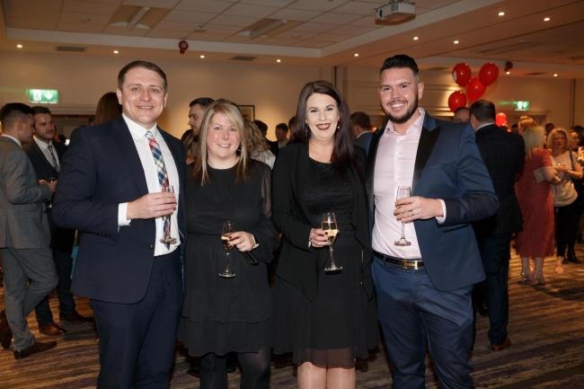 L to R : Grant Hannah, Sam Cunningham, Alison Miller and Alan McVey of Blue Arrow...s1 jobs.com Awards at Doubletree...Picture Robert Perry  11th April 2019..Must credit photo to Robert Perry.FEE PAYABLE FOR REPRO USE.FEE PAYABLE FOR ALL INTERNET USE.www.