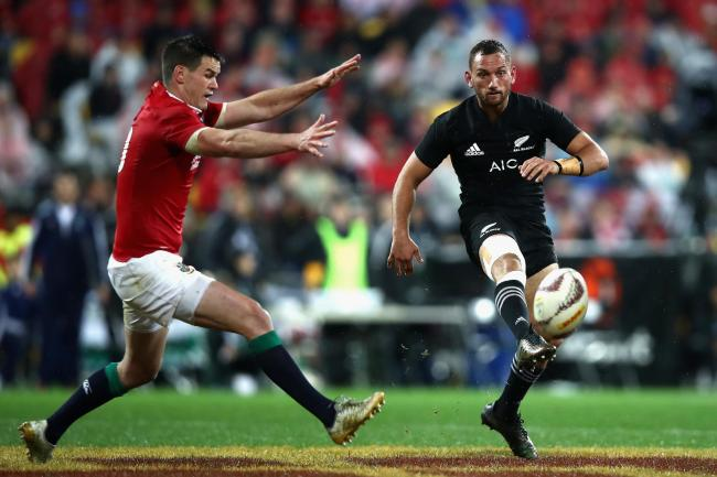 WELLINGTON, NEW ZEALAND - JULY 01:  Aaron Cruden of the All Blacks chips through during the International Test match between the New Zealand All Blacks and the British & Irish Lions at Westpac Stadium on July 1, 2017 in Wellington, New Zealand.  (Phot