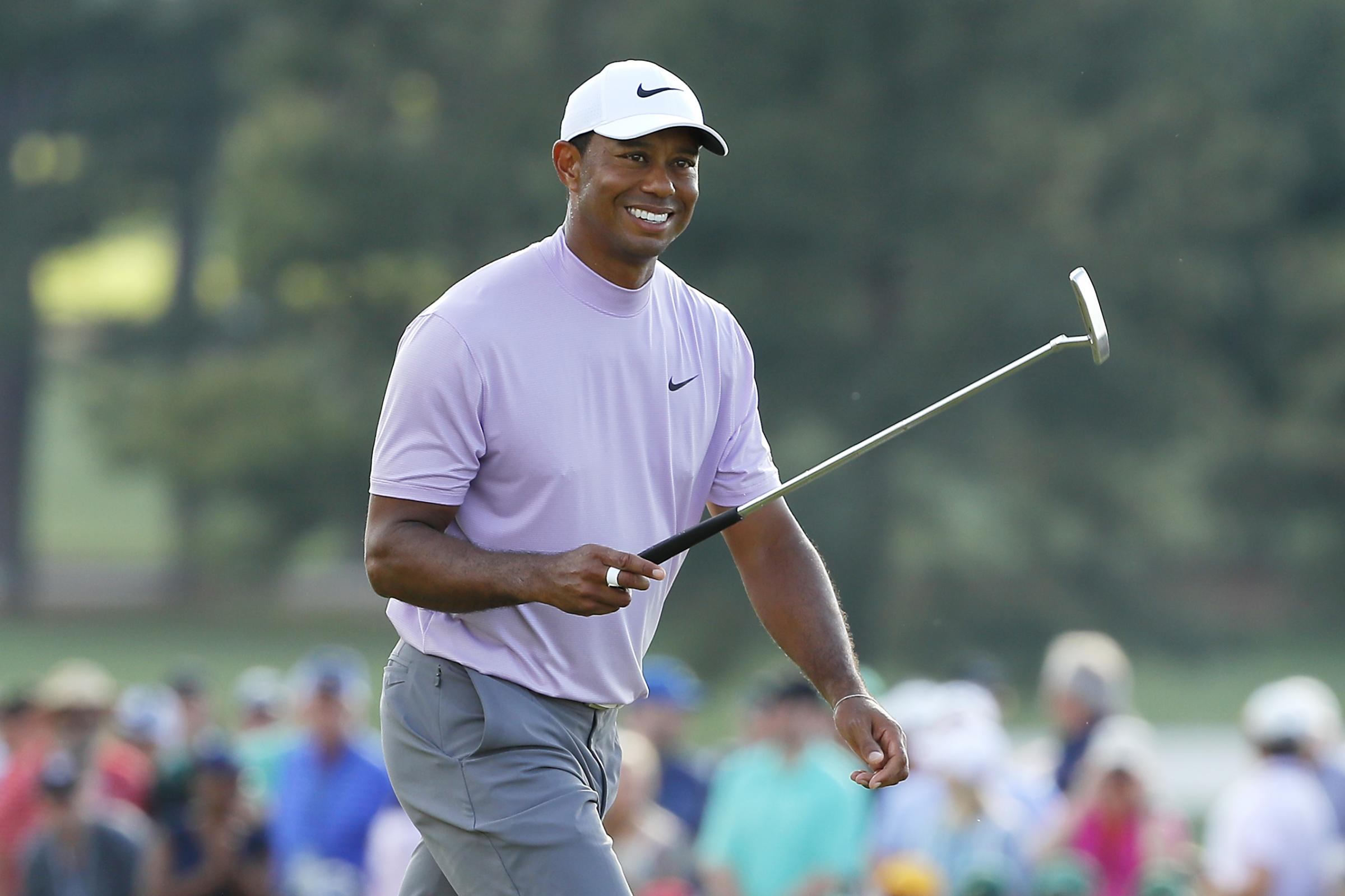 Tiger Woods is two shots off the lead at Augusta