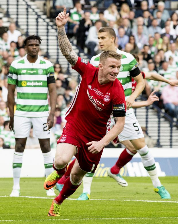 HeraldScotland: Jonny Hayes opens the scoring for Aberdeen in the 2017 Scottish Cup final against Celtic