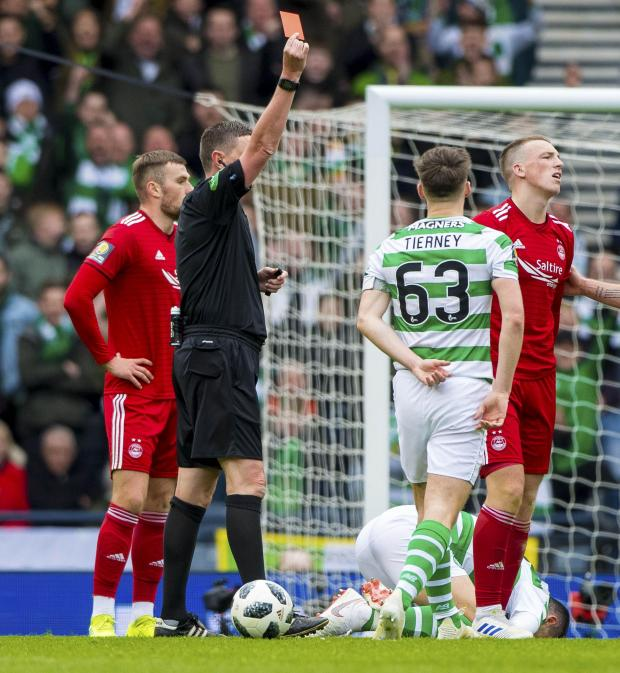 HeraldScotland: Lewis Ferguson is shown a red card