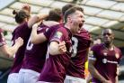 Hearts' Bobby Burns celebrates the second goal