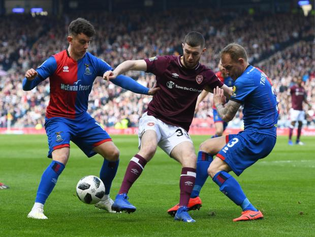 HeraldScotland: Aidan Keena of Hearts, in action against Inverness in the semi-final, will miss the rest of the season through injury