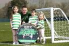 18/04/19.LENNOXTOWN.Celtic's Jonny Hayes is pictured with Freya Lonergan (left), Zack Cunnion (centre) and Liv Lonergan as he promotes the Celtic FC Festival.