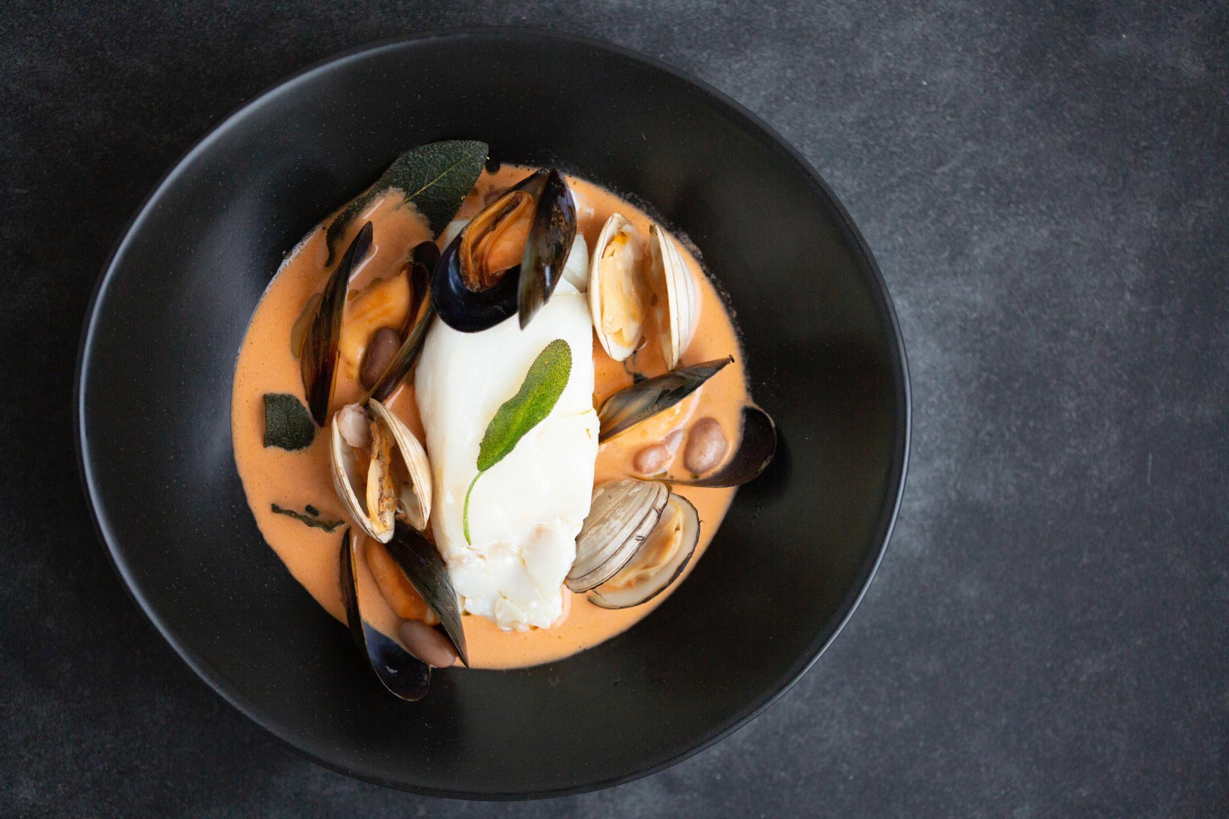Recipe: Poached Olive Oil Cod and Shellfish Brodo by Giovanna Eusebi of Eusebi Deli