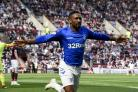 Jermain Defoe celebrates after scoring the first goal during the Ladbrokes Scottish Premiership match at Tynecastle