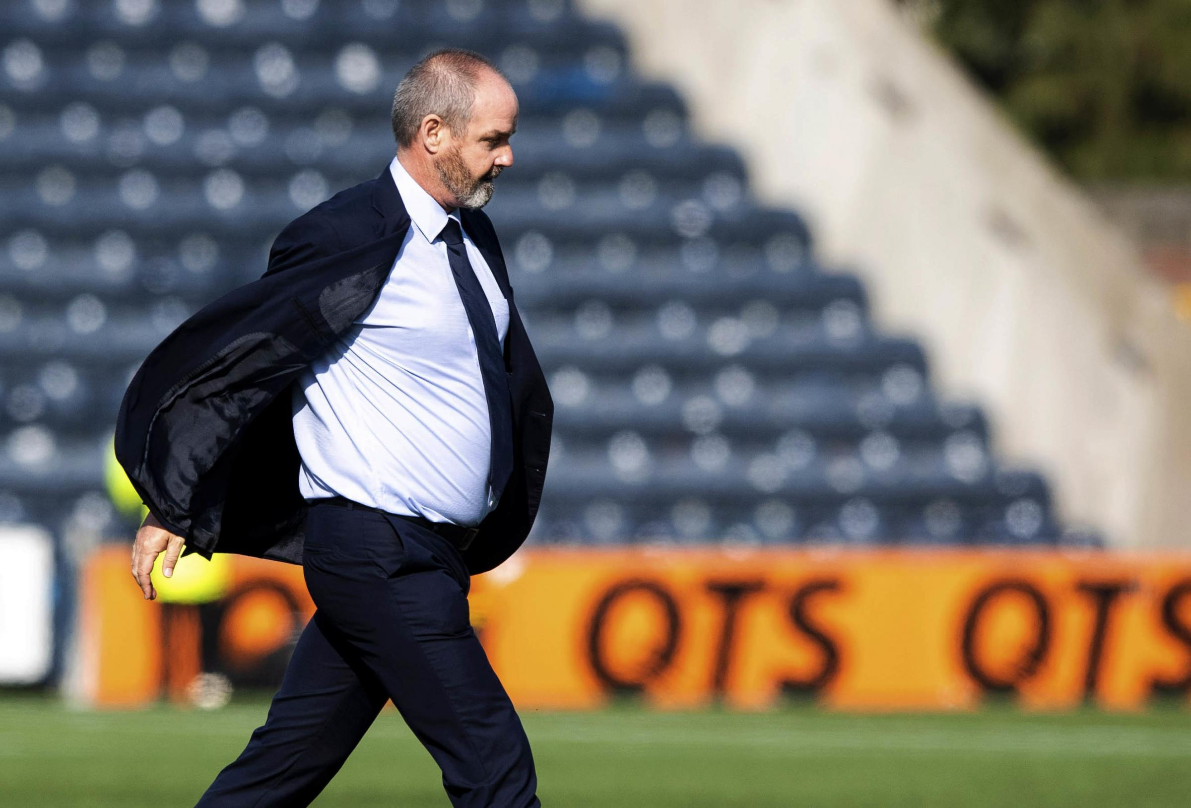 Steve Clarke marches onto the Rugby Park pitch to confront referee Steven McLean..