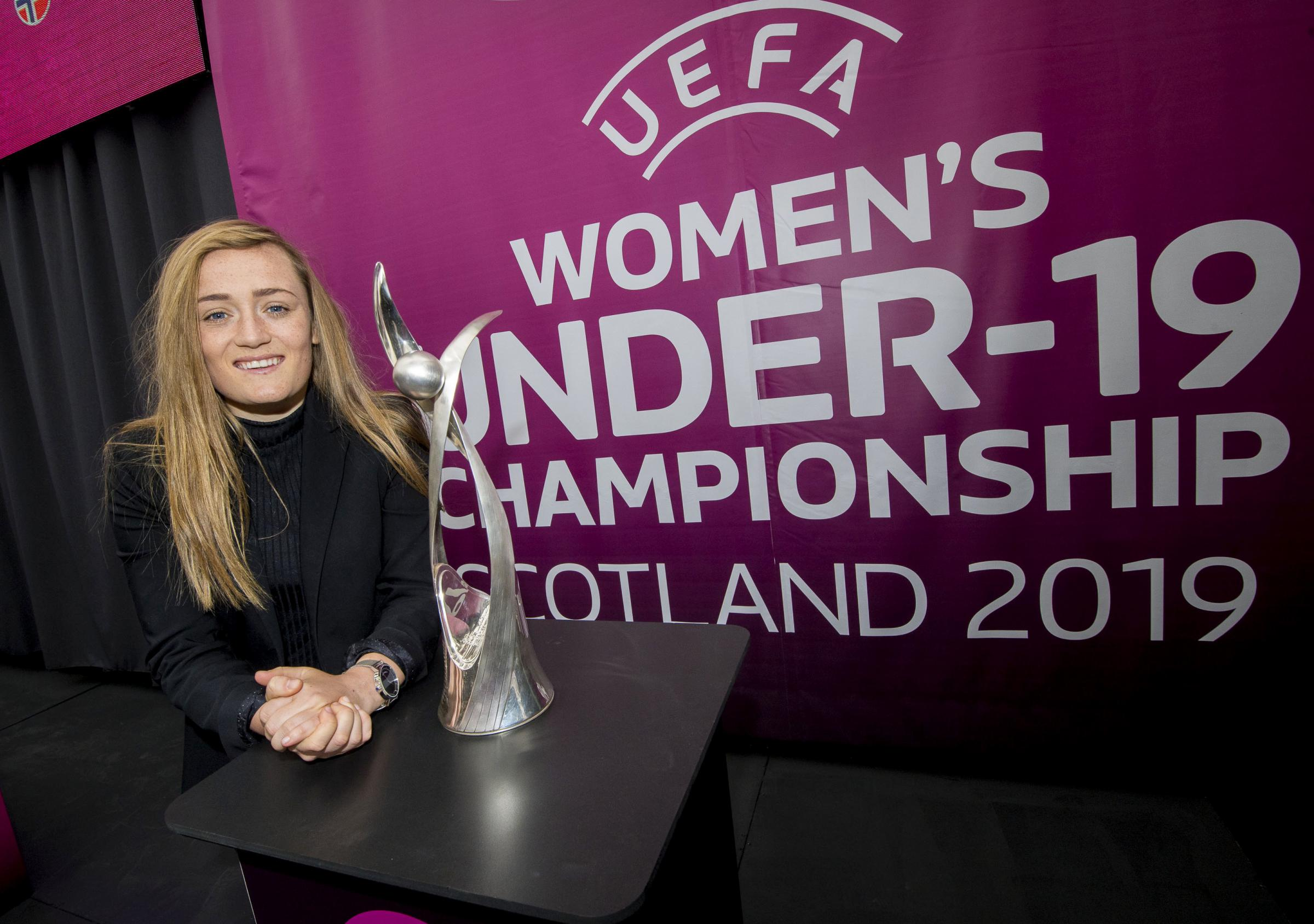 Erin Cuthbert is pictured at the draw for the UEFA Women's U19 Championships