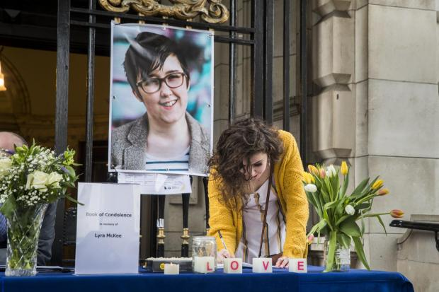 HeraldScotland: A memorial to Lyra McKee at Belfast City Hall.