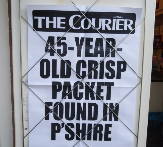 """It's all kicking off in Comrie,"" says Mike Wade who spots this hold-the-front-page billboard in Perthshire."
