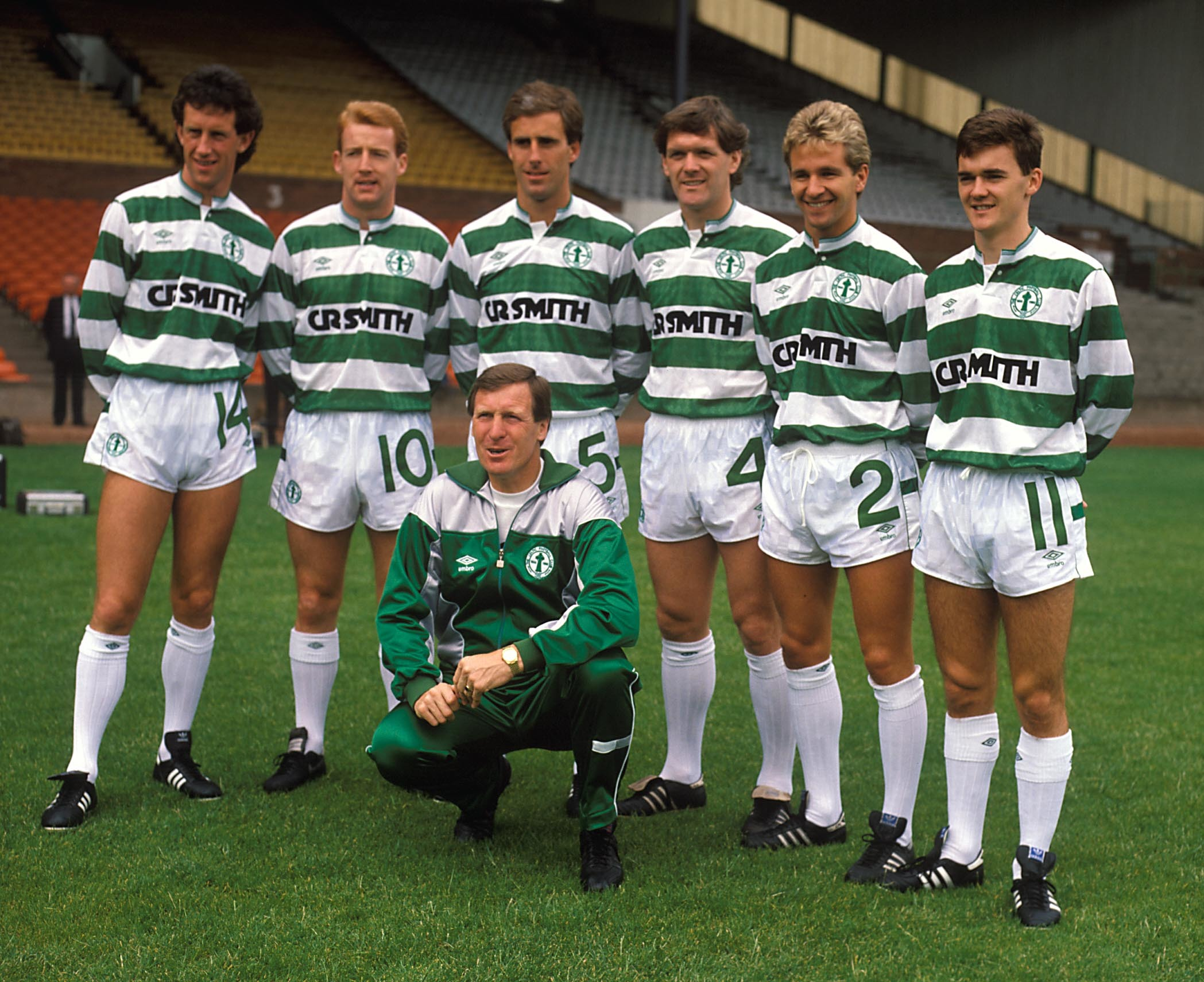 Celtic boss Billy McNeill parades some of his new signings for the 1987-88 season. Andy Walker is far right