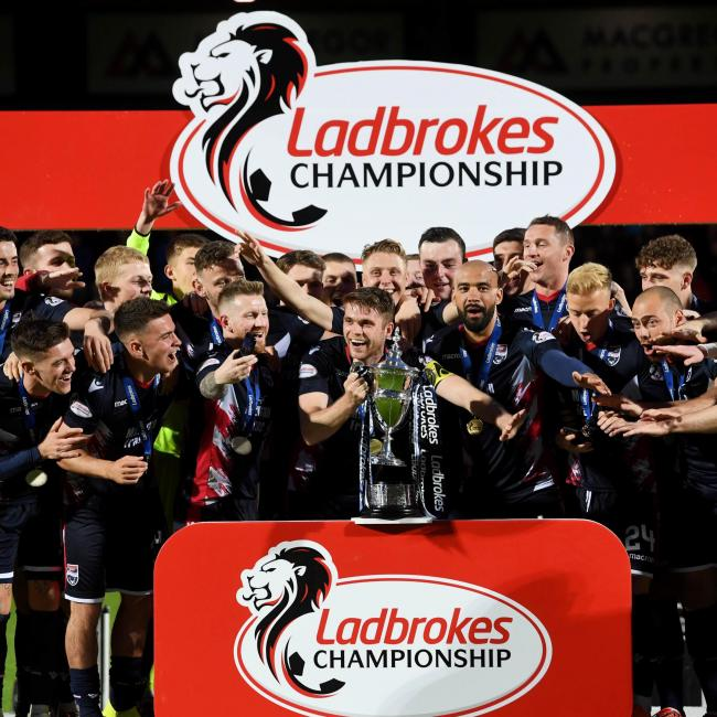 26/04/19 LADBROKES CHAMPIONSHIP ROSS COUNTY V QUEEN OF THE SOUTH THE GLOBAL ENERGY STADIUM - DINGWALL Ross County captain Marcus Fraser prepares to lift Ladbrokes Championship trophy