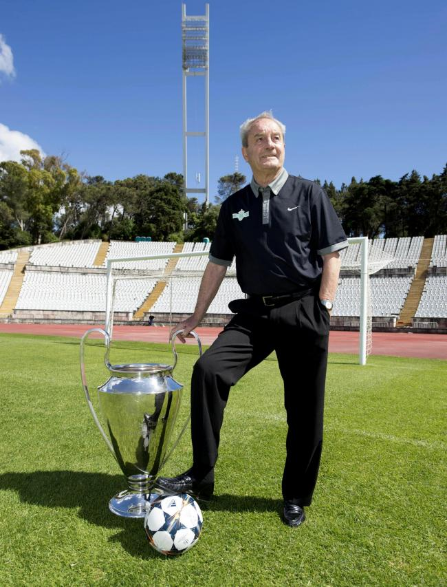 Lisbon Lion Stevie Chalmers poses with the European Cup in the Estadio Nacional