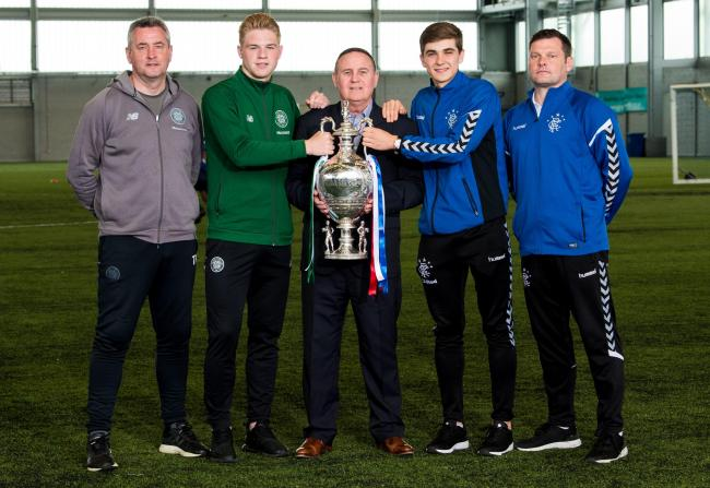 Celtic U20s head coach Tommy McIntyre, Celtic's Stephen Welsh, Willie Haughey, Rangers' Cameron Palmer and Rangers U20 head coach Graeme Murty before the Glasgow Cup final