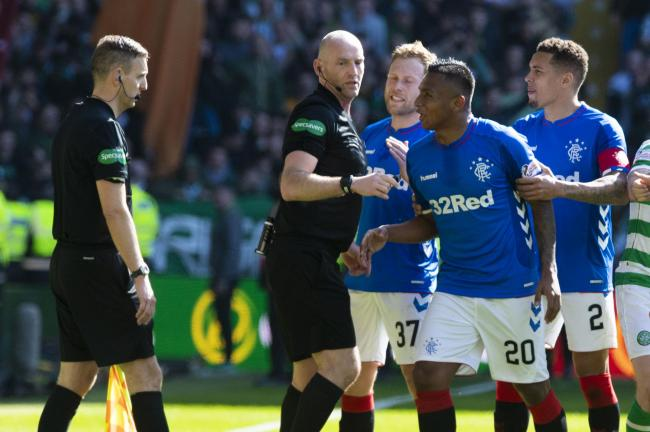 Alfredo Morelos is sent off against Celtic