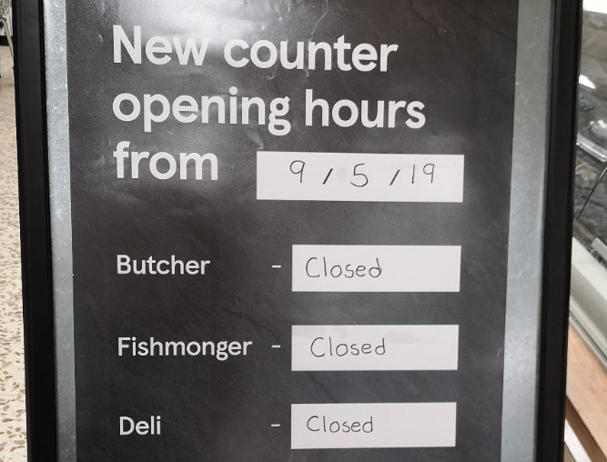 "Reader Ronnie is in the Tesco Store in Greenock and believes the shop's management has redefined the meaning of the word ""opening""."