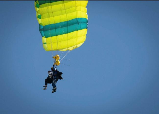 Thrill of lifetime as Huntington's mum ticks skydiving off her bucket list