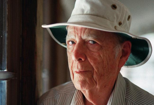 FILE - This May 15, 2000, file photo, shows Pulitzer Prize-winning author Herman Wouk in Palm Springs, Calif. Wouk died in his sleep early Friday, May 17, 2019, according to his literary agent Amy Rennert. He was 103. (AP Photo/Douglas L. Benc Jr., File).