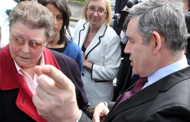 Gordon Brown (right) speaks to local resident Gillian Duffy (left) in Rochdale in 2010. Mr Brown was caught on microphone describing Ms Duffy as a