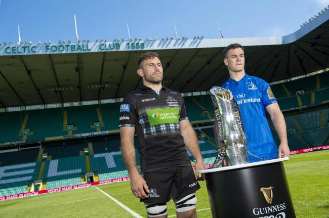 24/05/19.CELTIC PARK - GLASGOW.Glasgow Warriors' Callum Gibbins (L) and Leinster's Johnny Sexton preview tomorrow's Guinness PRO14 final at Celtic Park..