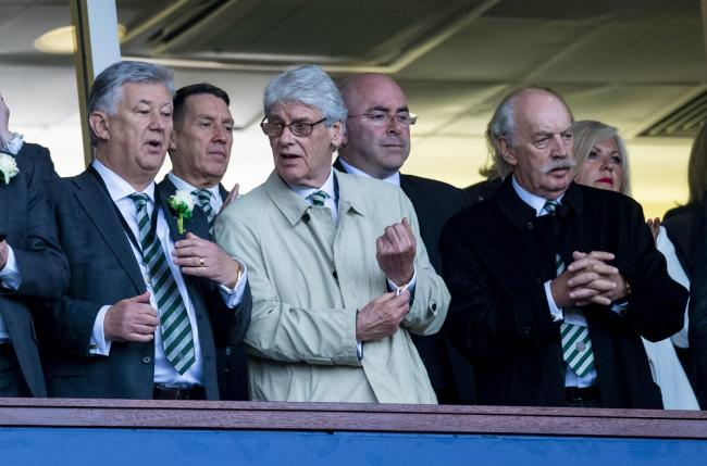 Celtic chief executive Peter Lawwell, left, non-executive director Tom Allison, centre, and  major shareholder Dermot Desmond, right, at Hampden on Saturday.