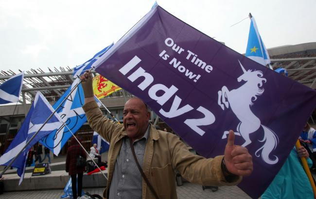 Indy Ref 2 supporters outside the Scottish Parliament tuesday..Pic Gordon Terris/The Herald.28/3/16.