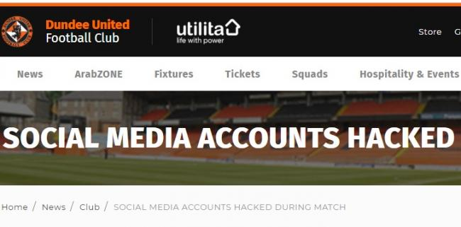 Dundee United apologise for offensive tweets after a social media hack