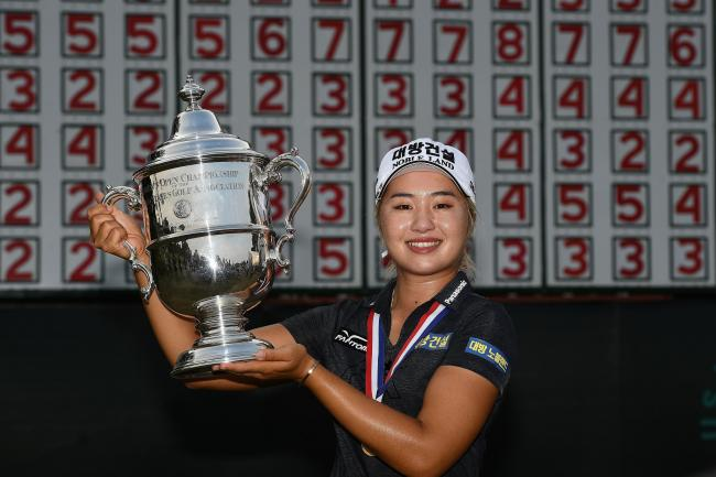 Jeongeun Lee of Korea poses with the US Women's Open trophy