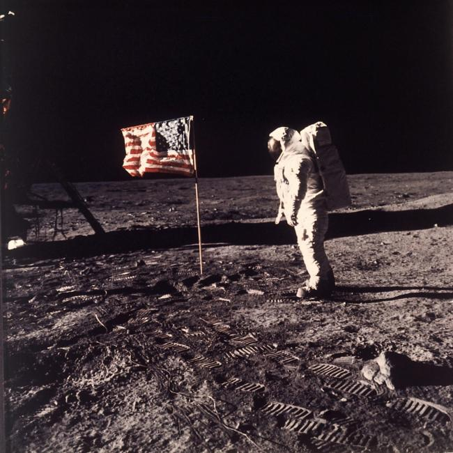 Buzz Aldrin beside the US flag on the moon. Picture: NASA