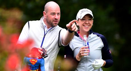 Heather MacRae and her caddie Craig Lee en route to victory at the Women's PGA