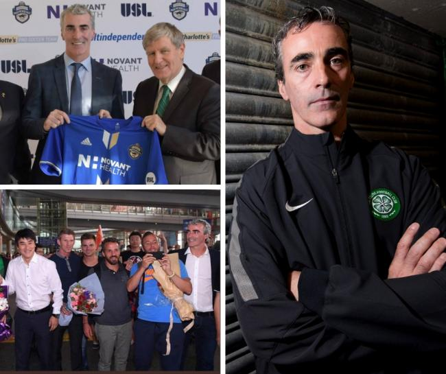 Jim McGuinness during his time at Celtic (right), Beijing (below) and joining Charlotte (above)