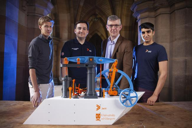 From left, Alan Hewett, of JetX, Chris Triantfayllou, Colin McInnes and Hamzah Mushtaq, of JetX, have revived the invention of Watt, above.