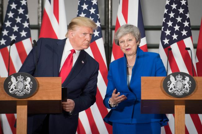 Prime Minister Theresa May and US President Donald Trump during their joint press conference at the Foreign & Commonwealth Office, in London, on the second day of his state visit to the UK. PRESS ASSOCIATION Photo. Picture date: Tuesday June 4, 2019.
