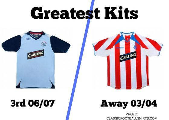 Next up in our Greatest Kits reader poll, we have Rangers' third kit from the 2006/07 campaign and the away strip from 2003/04.