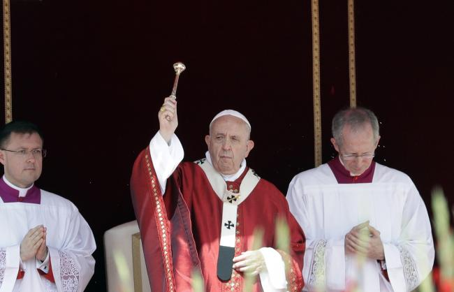 Pope Francis celebrates a Pentecost Mass in St. Peter's Square, at the Vatican, Sunday, June 9, 2019. The Pentecost Mass is celebrated on the seventh Sunday after Easter. (AP Photo/Gregorio Borgia)