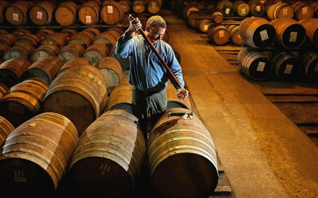 A worker at Bruichladdich distillery takes a whisky sample from a cask. Photo by Jeff J Mitchell/Getty Images)