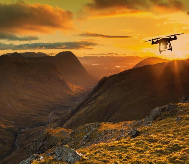 A drone over the Highlands