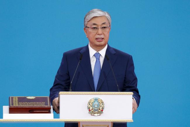 Kazakhstan's new President Kassym-Jomart Tokayev speaks during his inauguration ceremony in Nur-Sultan, the capital city of Kazakhstan, Wednesday, June 12, 2019. Tokayev, an ally of Kazakhstan's former president was named the winner of the presid