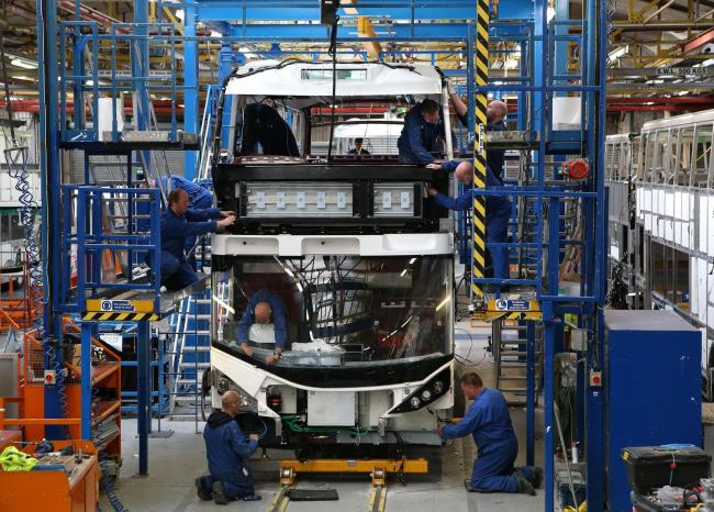 Embargoed to 0001 Wednesday August 23..File photo dated 21/10/15 of a double decker bus on the production line at the Alexander Dennis factory in Falkirk. PRESS ASSOCIATION Photo. Issue date: Wednesday August 23, 2017. The plant will help build 90 double