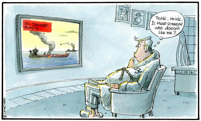 Camley's Cartoon on Saturday, June 15: Heightened tension in the Gulf as two oil tankers were hit by explosions, with the US blaming Iran.