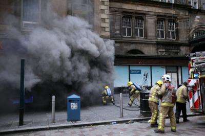 Firefighters battle the blaze at the Blue Lagoon chip shop
