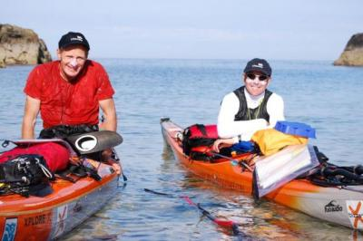 LONG PADDLE: Patrick Winterton, left, and Mick Berwick will take three days to reach Norway in their kayaks.