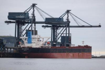 storm: The coal ship Bulk Australia, tied up at Hunterston terminal, is believed to be at the centre of a drug-smuggling swoop. Picture: Marc Turner