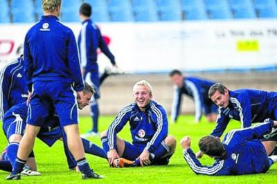 Johnny Russell and his under-21 team- mates relax in Luxembourg. Picture: SNS